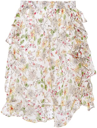 Walter Baker Ruffled Fil Coupe Floral-print Georgette Mini Skirt