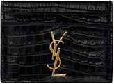 Saint Laurent Navy Croc-Embossed Monogram Card Holder
