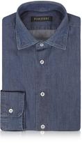 Forzieri Solid Blue Jeans Cotton Slim Fit Men's Shirt