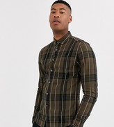 Asos Design ASOS DESIGN Tall slim check shirt in khaki-Green
