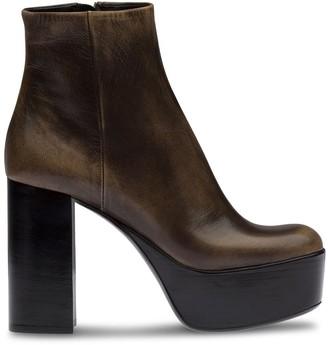 Miu Miu Distressed Platform Ankle Boots