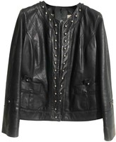 Annie P. Blue Leather Leather Jacket for Women