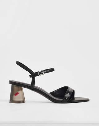 Charles & Keith Embroidered Lucite Sculptural Heel Sandals