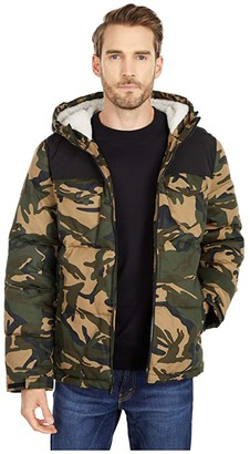 Levi's Hooded Puffer with Sherpa Lining (Black/Camo) Men's Clothing