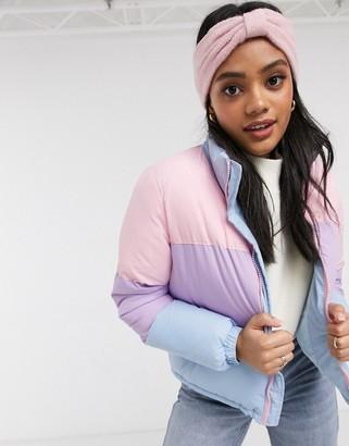 Brave Soul remix padded coat in pastel colourblock