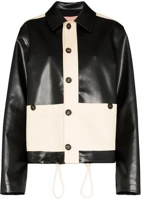 Plan C Two-Tone Faux Leather Jacket