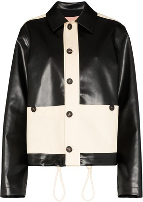 Plan C Two-Tone Faux Leather Jacket