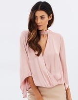 Bardot Wrap Satin Blouse