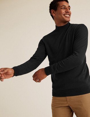 Marks and Spencer Cotton High Crew Neck Jumper