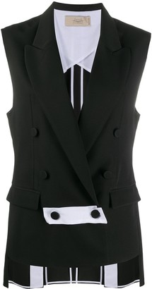 Maison Flaneur Sleeveless Double-Breasted Blazer