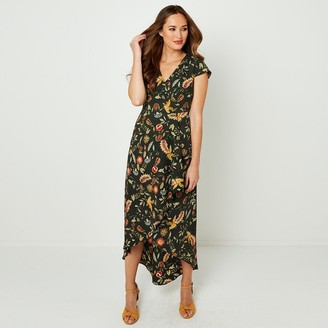 Joe Browns Floral Print Midi Dress with Short Sleeves and V-Neck
