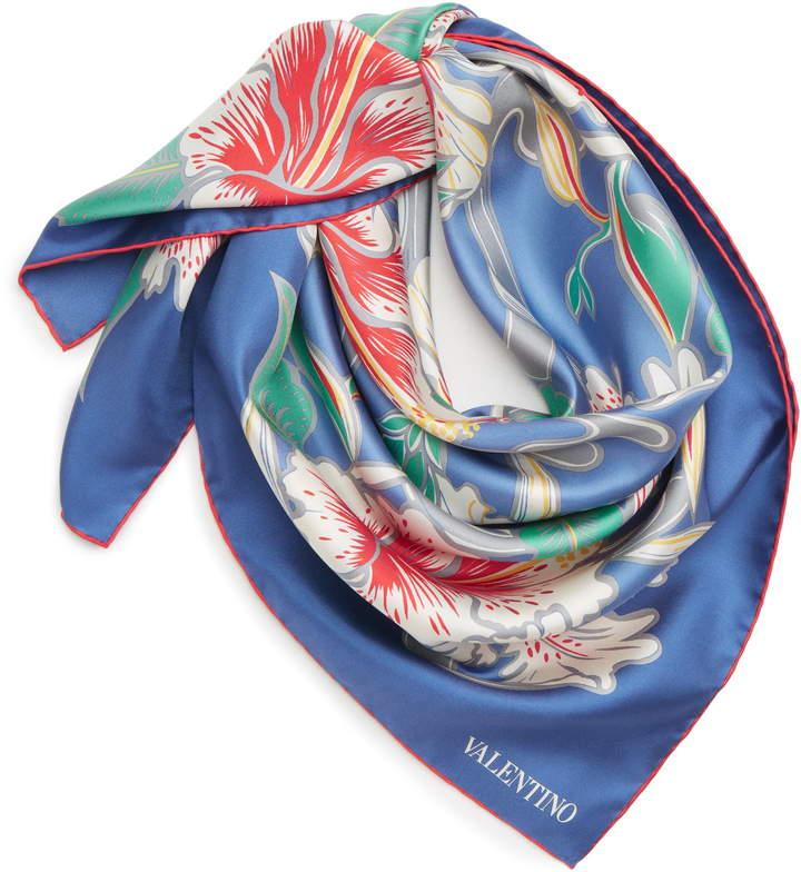 Valentino Hibiscus Silk Scarf