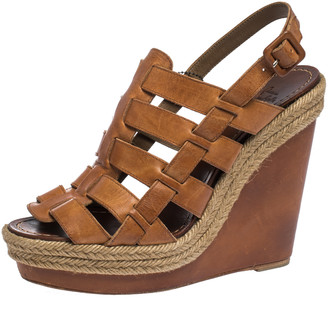 Christian Louboutin Brown Leather Caged Espadrille Wedge Sandals Size 40