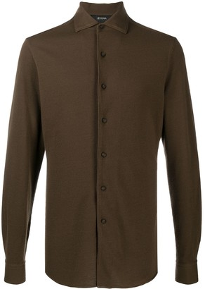 Ermenegildo Zegna Spread Collar Flannel Shirt