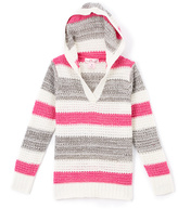 Pink Angel Fuchsia & Gray Metallic Stripe Hoodie - Girls