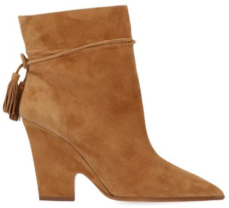 Aquazzura Pointed Toe Tassel Ankle Boots