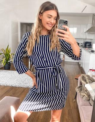 JDY Leaf 3/4 sleeve stripe tie waist dress