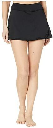 TYR Solid Hi Waist Skort (Black) Women's Swimwear