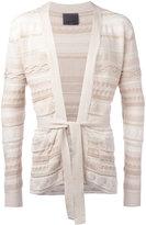 Laneus multi-pattern belted cardigan