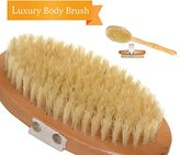 ★Smooth Summer Skin Sale★ | Luxury Body Brush | Fantastic Dry Brush or Bath Brush | A Must Have for Cellulite Reduction, Skin Exfoliation, Natural Detox and More | Bath Body Brushes Long Handle Detaches for Convenience | 100% Natural Bristles