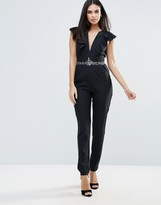 Little Mistress Plunge Ruffle Jumpsuit