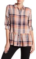 Susina Plaid Button Down Ruffle Shirt (Regular & Petite)