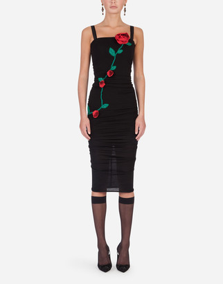 Dolce & Gabbana Sheath Dress With Rose Embroidery