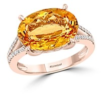 Bloomingdale's Citrine & Diamond Ring in 14K Rose Gold - 100% Exclusive