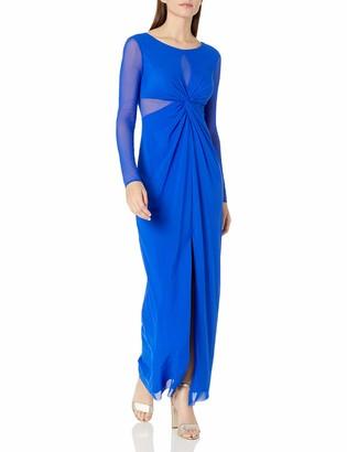 Marina Women's Long Illusion Mesh Inset Gown