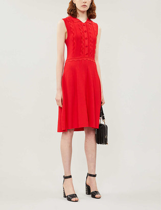 Claudie Pierlot Scalloped-trim sleeveless stretch-knit dress