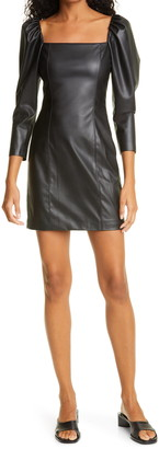 Alice + Olivia Women's Frances Puff Sleeve Faux Leather Minidress