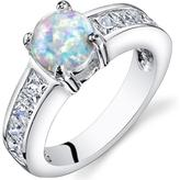 Ice 1 1/4 CT TW Lab-Created Opal Sterling Silver Fashion Ring with CZ Accents