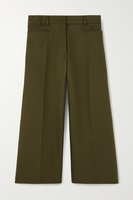 Stella McCartney Charlotte Cropped Twill Wide-leg Pants - Army green