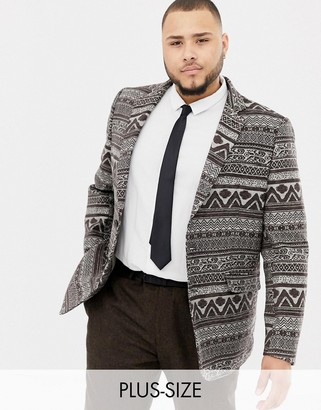 Gianni Feraud Plus premium skinny fit woven tapestry blazer-Grey