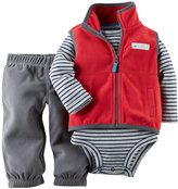 Carter's Baby Boys' Fleece 3-Piece Vest Set - Red