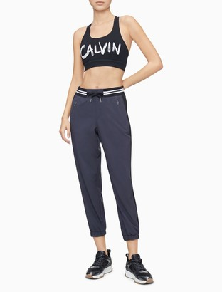 Calvin Klein Performance Striped Drawstring Waistband Colorblock Joggers