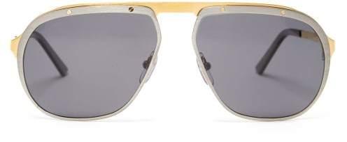 Cartier Eyewear - Santos De Aviator Metal Sunglasses - Mens - Silver