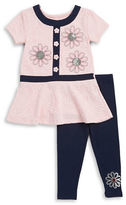 Flapdoodles Girls 2-6x Embossed Floral Tunic and Leggings Set