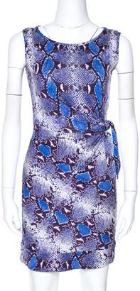 Diane von Furstenberg Blue Python Print Silk Jersey Della Dress XS