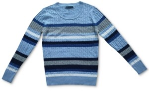 Karen Scott Nikki Striped Cable-Knit Cotton Sweater, Created for Macy's