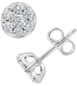 Forever Grown Diamonds Lab-Created Diamond Cluster Stud Earrings (1 ct. t.w.) in Sterling Silver