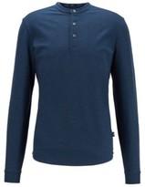HUGO BOSS - Slim Fit Henley Shirt In Mercerized Cotton - Open Blue