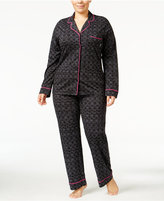 DKNY Plus Size Piping-Trimmed Pajama Set