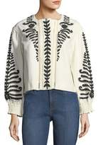 Tory Burch Filipa Short Embroidered Canvas Jacket
