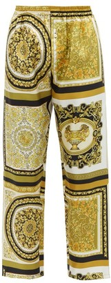 Versace Baroque-print Silk-twill Pyjama Bottoms - Gold Multi