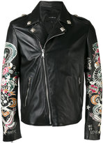 John Richmond tattoo print biker jacket