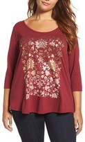 Lucky Brand Plus Size Women's Floral Foil Print Tee