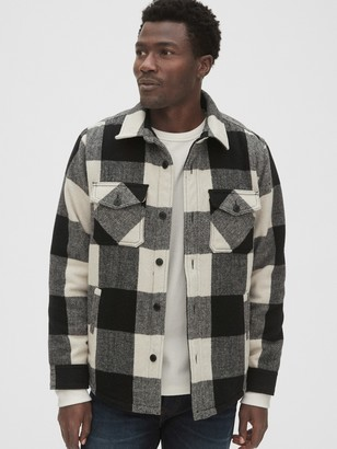Gap Cozy Wool-Blend Plaid Shirt Jacket