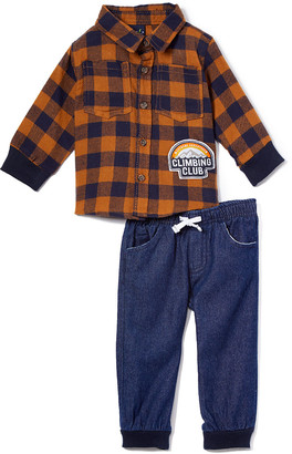 Little Rebels Boys' Casual Pants NAVY - Brown Plaid Pocket Button-Up & Navy Pants - Infant, Toddler & Boys