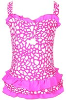 Perfashion Kids Girls One-piece Frilled H Back Swimsuit Pink 8-9 Years